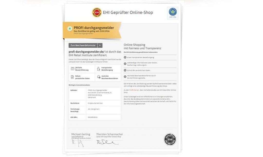 Wir sind jetzt EHI geprüfter Online-Shop - Profi-Durchgangsmelder