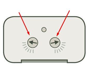 4. Überprüfen Sie die Position der Pfeile, wie auf der Abbildung angegeben, so dass der PIR Sender im größtmöglichen Empfangsbereich liegt.